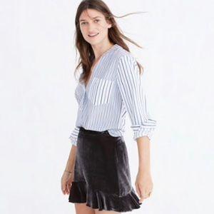 Madewell NWT Velvet Ruffle Edge Mini Skirt